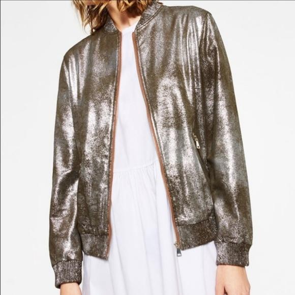 a3f77229 Zara Jackets & Coats | Silver Metallic Woman Bomber Jacket | Poshmark